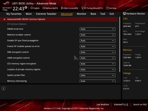 Advanced AMD CBS DF Common options
